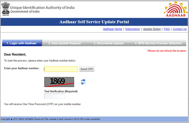 Aadhar Card Update, Self Service Update Portal