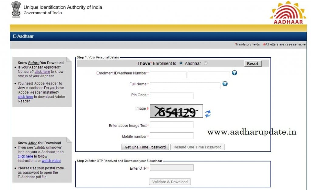 Aadhar Card Download By Aadhar Number Only