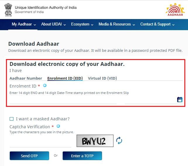 UIDAI Aadhar Card Download
